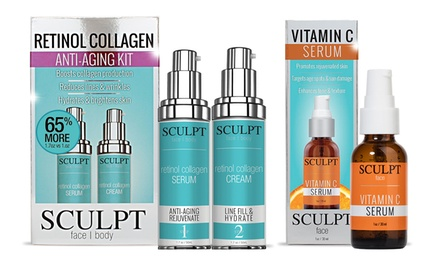 $45 for a Sculpt AntiAging Retinol Collagen and Vitamin C Kit Don't Pay $158