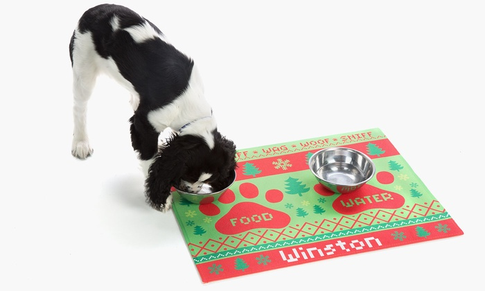 52 Off A Personalized Pet Food Mat Groupon