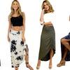 Side-Slit Maxi Skirt with Adjustable Side Strings