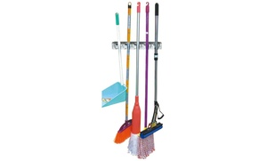 Home Basics Mop and Broom Wall-Mounted Rack Organizer