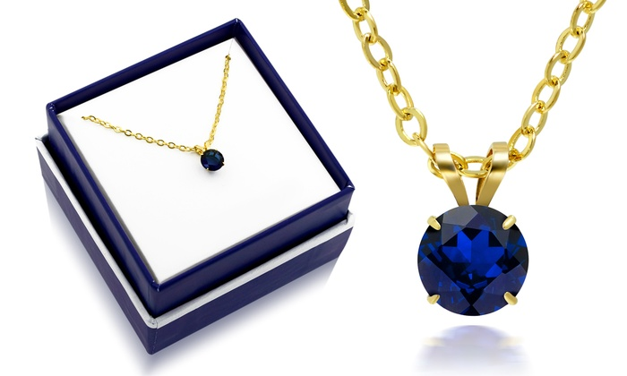 Sapphire Solitaire Necklace In 10k Yellow Gold With Gift Box By Muiblu Gems