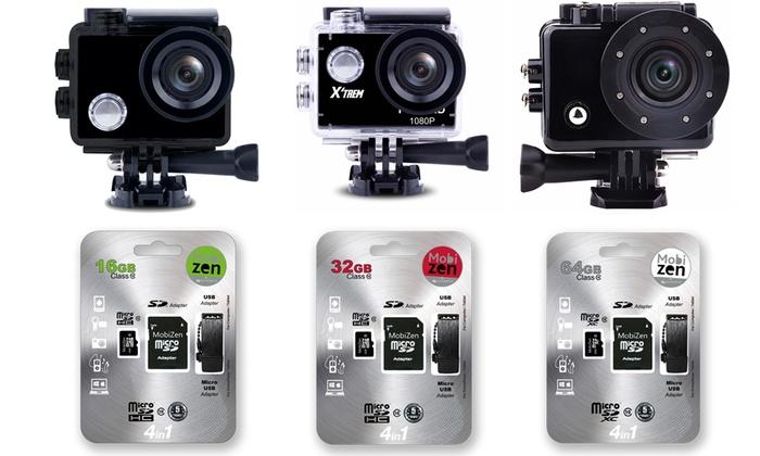 Groupon Goods Global GmbH: Cam sport HD/Full HD/4K - SD de 16, 32 ou 64Go, Ecran LCD, Wifi & Accessoires