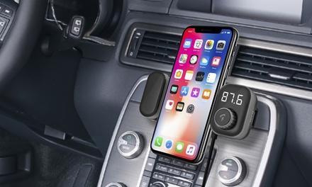 1 ou 2 kits mains libres Bluetooth sans fil pour voiture 5 en 1 avec transmetteur de musique, appels, support smartphone