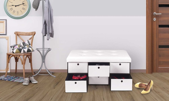 jusqu 39 64 banc de rangement avec tiroirs groupon. Black Bedroom Furniture Sets. Home Design Ideas