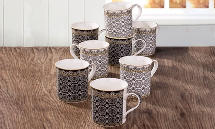 8 black and white downton mugs