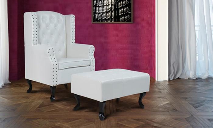 Surprising Chesterfield Stoel Met Bankje Groupon Goods Lamtechconsult Wood Chair Design Ideas Lamtechconsultcom