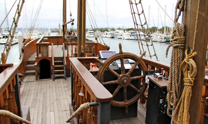 Hawaii Pirate Ship Adventures - Kewalo Basin Harbor: Day or Night Pirate Ship Cruise from Hawaii Pirate Ship Adventures (Up to 51% Off). Three Options Available.