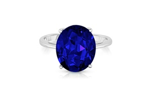 5.00 CTTW Sapphire Oval Cut Sterling Silver Ring by Valencia Gems