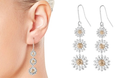 One or Two Pairs of Philip Jones Triple Daisy Drop Earrings