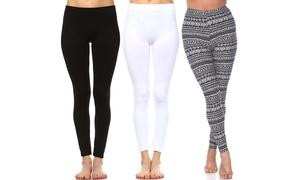 Women's Leggings (3-Pack). Plus Sizes Available.