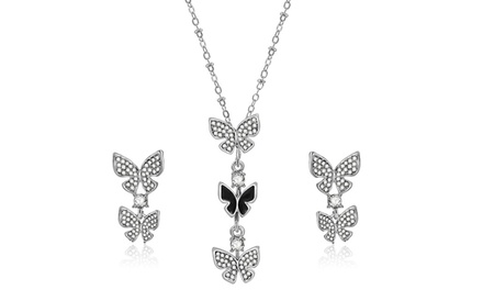 Pendientes y collar de mariposas con cristales de Swarovski® (envío gratuito)