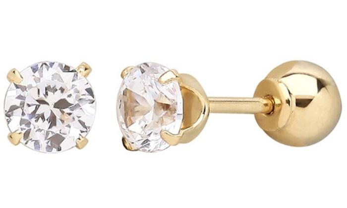 311fb69b3 Solid 14K Gold Swarovski Elements Crystal Reversible Ball Stud Earrings