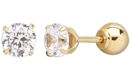 14K Solid Gold Reversible Ball Studs Made With Swarovski Elements