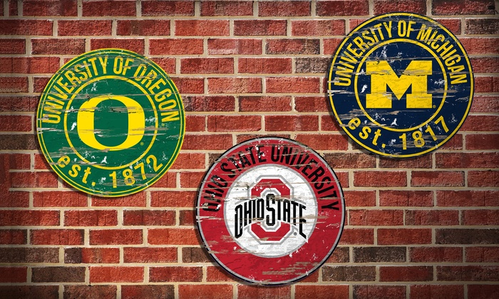 NCAA Vintage Distressed Signs in 33 Styles