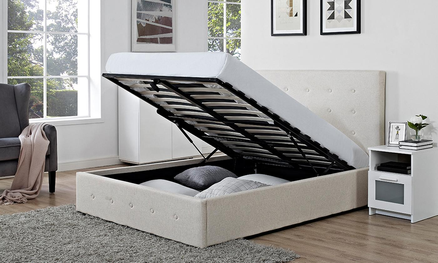Verona Fabric Storage Ottoman Bed with Optional Orthopaedic Mattress