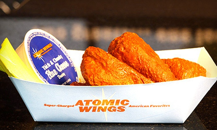 Atomic Wings - Park Slope: $12 for $25 Worth of Wings, Sides, and Drinks or 100-Wing Party Platter with Soda at Atomic Wings