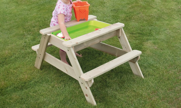 Super Wooden Picnic Table Sandpit Groupon Pabps2019 Chair Design Images Pabps2019Com