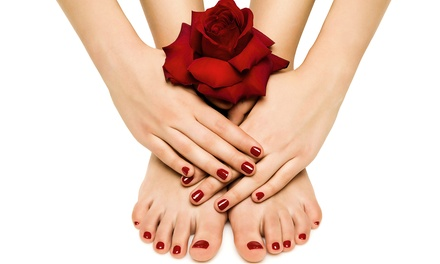 Full Set of Gel Nails, or Shellac Manicure with Optional Pedicure at Angelo's Salon and Spa (Up to 51% Off)