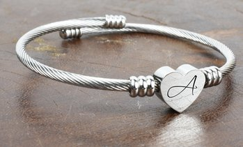Heart Cable Initial Bracelet by Pink Box