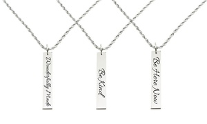 Pink Box Solid Stainless Steel Vertical Bar Inspirational Necklace