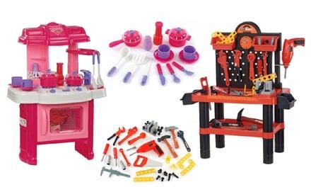 Speelkeuken en werkplaats met accessoires