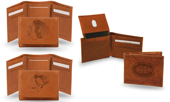 NHL Embossed Tri-Fold or Bill-Fold Leather Wallet