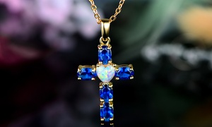 5.80 CTTW Fire Opal and Blue Sapphire Cross Pendant by Peermont