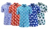 Men's Short-Sleeve Printed Rayon Shirt with Chest Pocket: Men's Short-Sleeve Printed Rayon Shirt with Chest Pocket