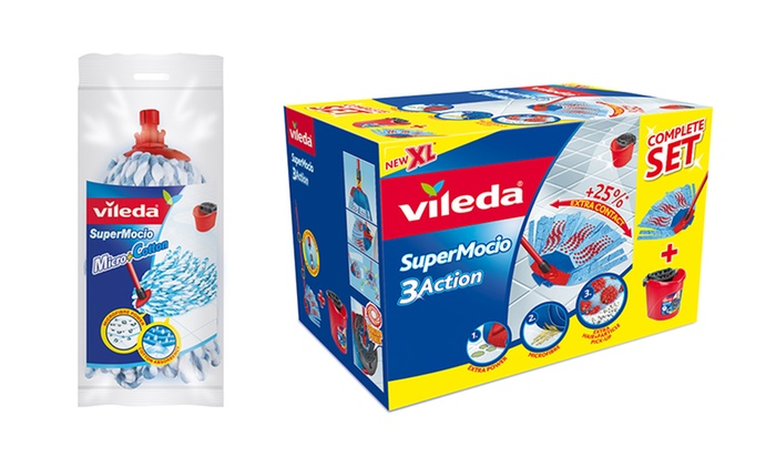 Groupon Goods Global GmbH: Vileda SuperMocio 3D Set with Mop Head Replacement Head for €29.99 With Free Delivery (12% Off)