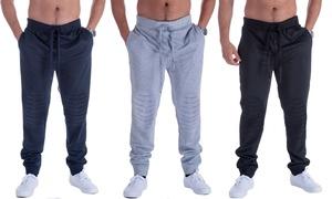 LeeHanTon Men's Fleece Moto-Padded Knee Sweatpants