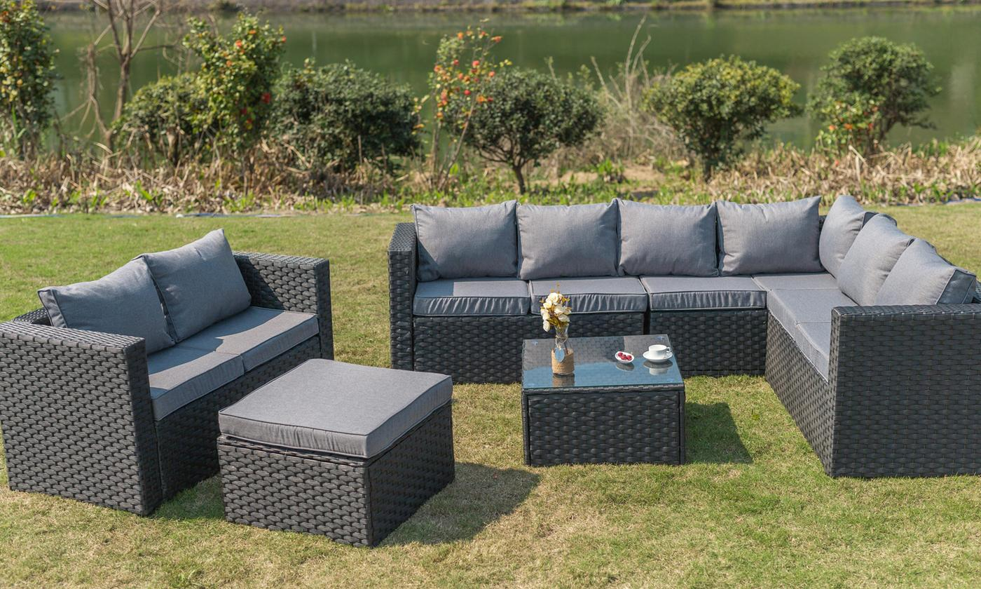 Yakoe Nine-Seater Rattan-Effect Outdoor Furniture Set with Cover in Choice of Colour (£599.99)