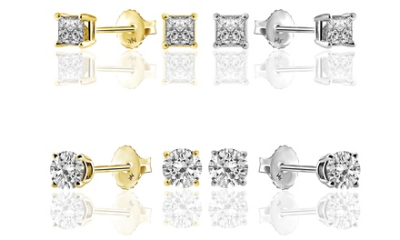 1/2 CTTW Diamond Stud Earrings in 14K Gold by Brilliant Essence Classic Collection