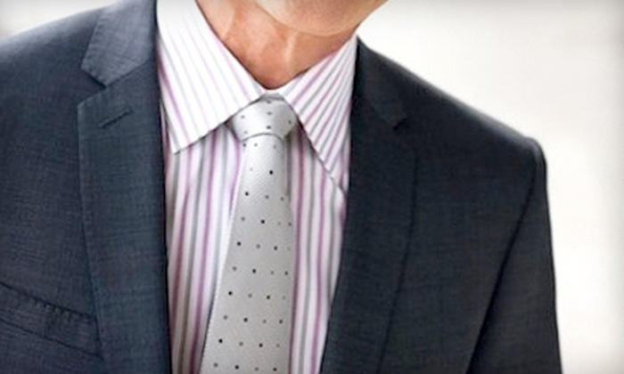 Custom Men - Midtown: One or Three Monogrammed, Tailored Egyptian-Cotton Dress Shirts at Custom Men (Up to 70% Off)