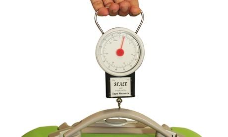 Báscula de viaje con cinta métrica para pesar y medir maletas y equipajes