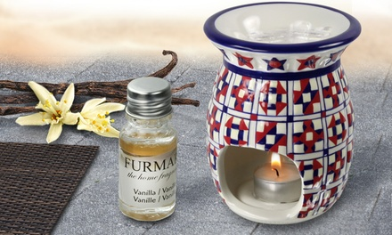 One or Two MoroccanStyled DecoPatterned Large Ceramic Oil Burners with Optional 4 or 20 Furmare Oils