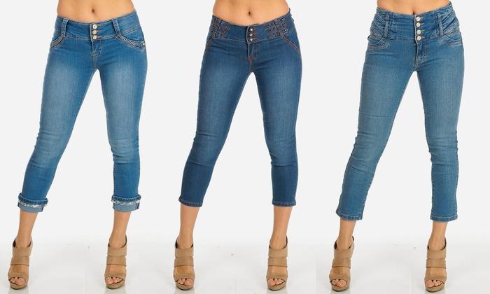 Women's Junior Butt-Lifting Long Denim Capris