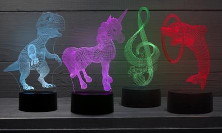 Lampe 3D à LED avec hologramme et couleurs