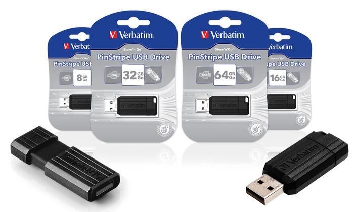 1 ou 2 cls USB Verbatim V2 Store'n'Go Pinstripe 8 16 32 ou 64 Go dès 390€ (jusquà 69% de rduction)