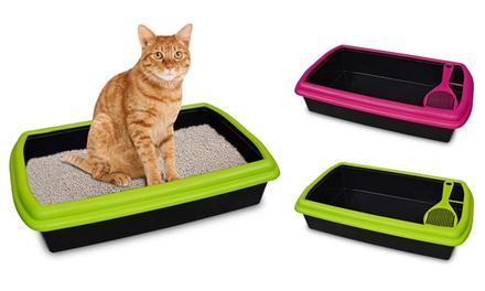 Lettiera aperta in plastica per gatti con paletta: Verde