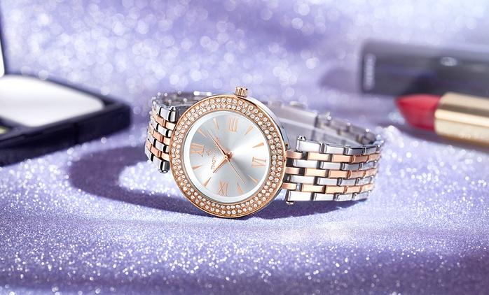 Montre bicolore ornée de cristaux Swarovski®, 4 coloris au choix à 29,99€, livraison offerte (80% de réduction)