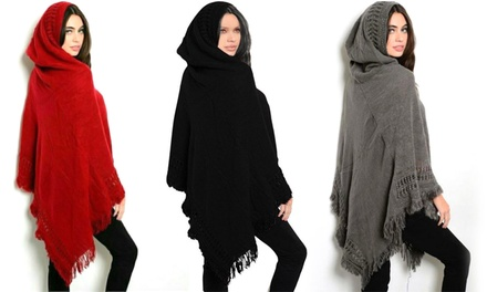 Fringe Hooded Poncho in Choice of Colour