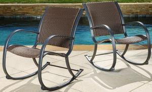 Leann Dark Brown Wicker Outdoor Rocking Chairs (Set Of 2)