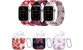 Waloo Floral Magnetic Band for Apple Watch and Case for AirPods 1 & 2