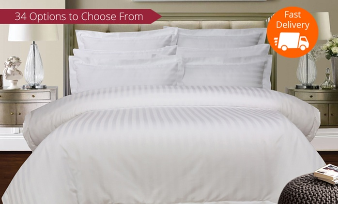 1,000 Thread-Count Cotton Stripe Sheet Set or Quilt Cover Set - Queen ($49) or King Size ($59)