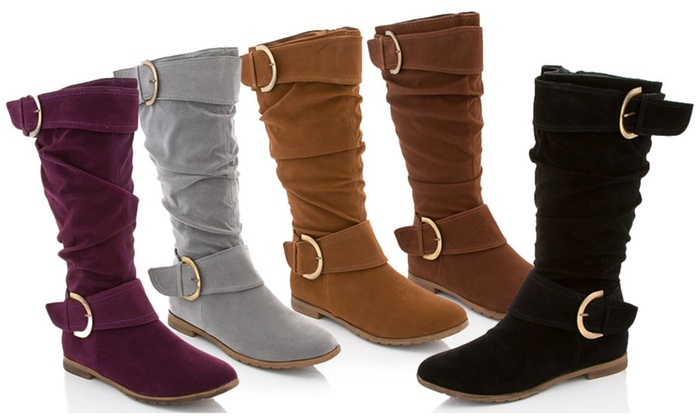 Rasolli Faux-Suede or Riding Boots: Rasolli Faux-Suede Boots or Faux-Leather Riding Boots. Multiple Colors Available. Free Shipping and Returns.