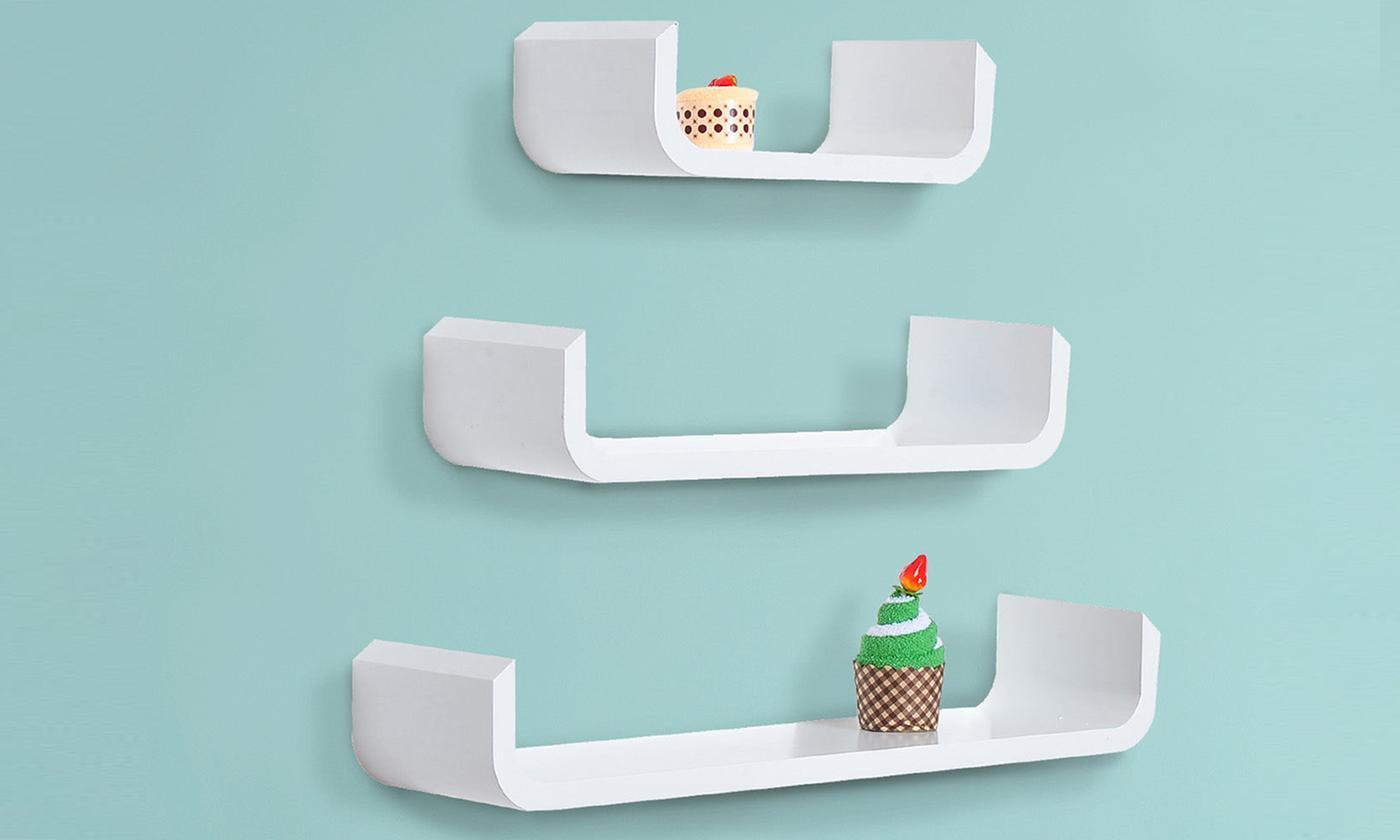 HomCom Set of Three U-Shaped Shelves