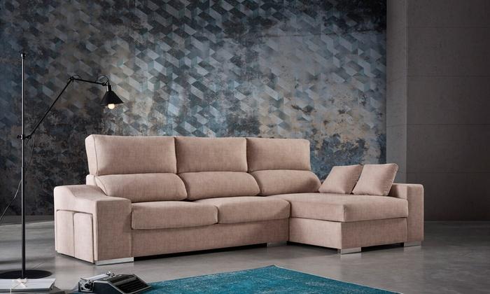 Sofá chaise longue con tela antimanchas