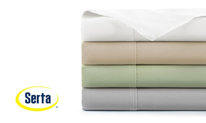 310TC 100% Egyptian Cotton Serta Antimicrobial Sheet Set (6 Piece) ...