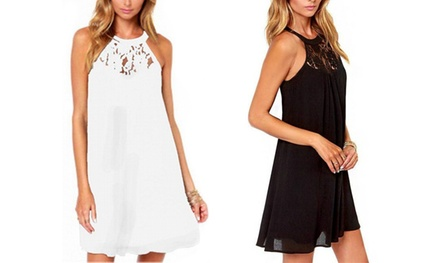 Lace Panel Halterneck Summer Dress