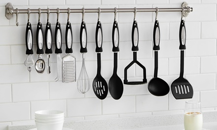Vivo Twelve-Piece Stainless-Steel and Nylon Kitchen Cooking Utensil Set and Optional Hanging Rail with Hooks